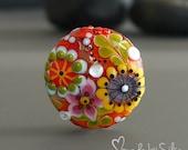 Handmade lampwork focal bead     Good Vibes      artisan glass    SRA   OOAK        made by Silke Buechler