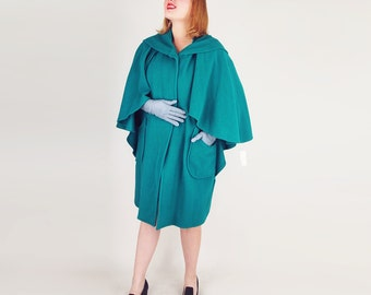 NOS 80s Green Wool Blend Cape Coat by Saxton Hall - Easy Fit M