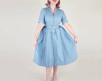 50s Blue Gray Belted Shirtwaist Day Dress by Norman Wiatt S M