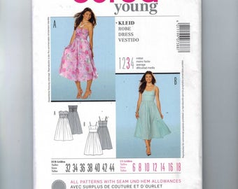 Misses Sewing Pattern Burda 7388 Misses Party Dress Formal Prom Strapless Full Skirt Retro 1950s Style Chiffon Size 6 8 10 12 14 16 18 UNCUT