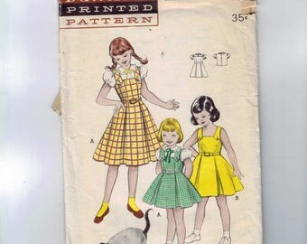 1950s Vintage Sewing Pattern Butterick 6196 Girls Sundress Jumper Dress Blouse Pleated Full Skirt Puff Sleeves Size 6 Breast 24 50s