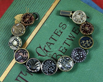Antique Button Bracelet Vintage French Steel Cut Floral Mixed Designs Upcycled Assemblage Jewelry