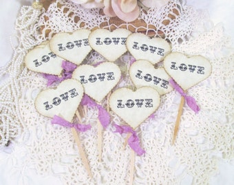 Wedding Hearts Love Cupcake Toppers Party Picks - Set of 12 - Choose Ribbons - Vintage Rustic Wedding Flags Bridal Shower Engagement Party