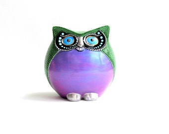 Colorful Owl Figurine Hand painted Owl Round Happy Owl Figurine Owl Lover art