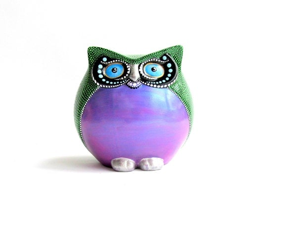 OWL Colorful Owl Figurine Hand painted Owl Round Happy Owl Figurine Owl Lover art ceramic owl purple and green owl
