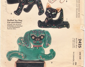 Vintage Sewing Pattern 1960's McCall's 2425 Stuffed Toy Dog Cat Embroidery Motif Transfer Never Used