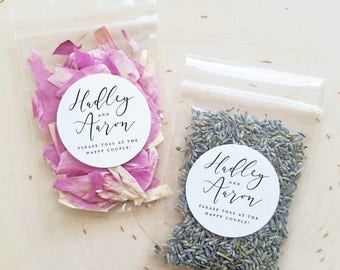 Wedding Flower Confetti Packets - Personalized Wedding Confetti - Dried Lavender Buds, Pink, Ivory, Red, Purple, Peach Rose Petals