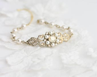 Wedding Jewelry Crystal Bridal Bracelet Swarovski Wedding Bracelet Pearl Cuff Bracelet Golden Shadow Vintage Wedding Bracelet  PARIS