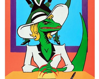"Powerful Reptilian Raptor Businesswoman Poster ""Who's the Boss"" (15% of sales goes to Emily's List!)"