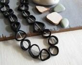 black  Bone beads, triangle freeform round donut shape , irregular bead frame, Rustic ethnic ( 10 beads ) 6db4-3