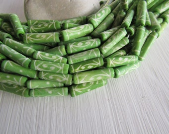 Green tube bone beads, with carved designs, lime green ,  natural Irregular look,  boho exotic beads 19 to 24mm long  (10 beads) 6db3-3