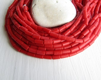 Red glass beads, tube lampwork beads, opaque matte finish ,  boho ethnic supplies from Indonesia 5 x 10mm long (20 beads) 6CB13-1