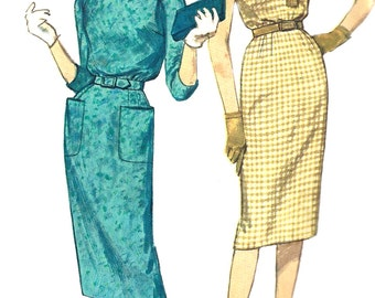 1960s Dress Pattern Slim Skirt Raglan Sleeves Vintage Simplicity Sewing Women's Misses Size 16 Bust 36 Inches