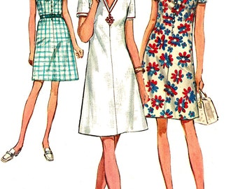 1970s Dress Pattern Vintage Simplicity Half Size Sewing V Neckline Back Zip Women's Misses Size 18. 5 Bust 41 Inches