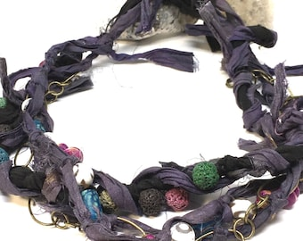 Multistrand necklace, boho purple necklace, statement necklace, 3 layered necklaces, boho jewelry, chunky bib necklace, purple boho necklace