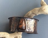 Hammered Copper Cuff Bracelet with Fire Agate