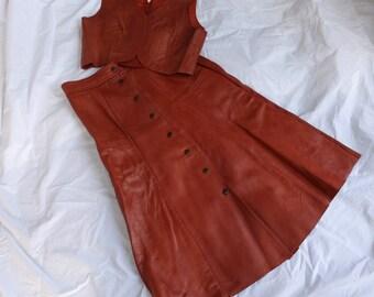 Vintage Leather Skirt and Vest Set 1970s