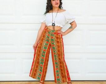 RARE Vintage Orange Daisy High Waistd Denim Pants Wide Leg Denim Culottes Orange Green Striped Tribal Print Pants Size Small