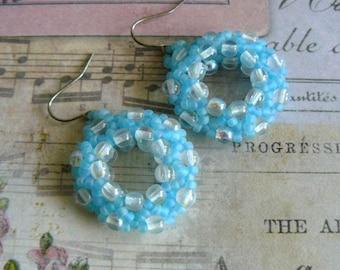 Light Blue Earrings, Aqua Beaded Hoops, Beadwork Earrings, Light Turquoise Jewelry, Beadwoven Hoop Earrings