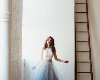 Floor length Tulle Skirt, 2 piece wedding dress, adult tulle skirt, maxi tulle skirt, prom dress, wedding dress, grey bridesmaid
