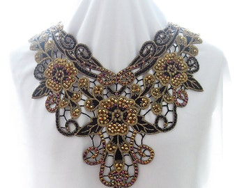 Gold Lace Applique Statement Necklace, Gold and Black Floral Lace Necklace, Rhinestone and Lace Fiber Necklace, Embroidered Floral Necklace