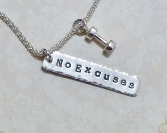 No Excuses Dumbbell Necklace, Dumbbell Hand Stamped Sterling Silver Charm Necklace, Weightlifting Necklace, Fitness Necklace