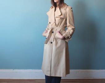 etienne aigner trench coat | khaki classic trench coat | 1970s small medium