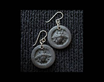Handmade Ceramic Earrings: Honey Bees in Bas Relief