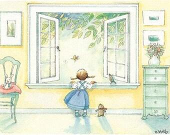 """1 postcard of """"open window"""""""