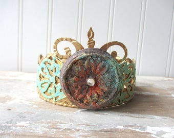 Ornate Santos crown faux rust and verdigris antique vintage style decor crown small handmade tiara doll size decor crown mixed media