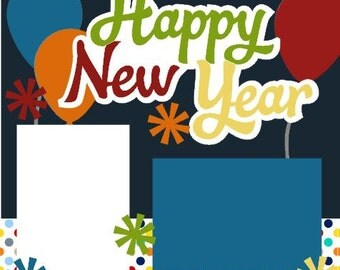 Happy New Year 2-Page 12X12 Scrapbook Page Kit or Premade Layout