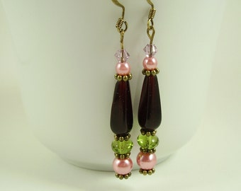 Rose Pink Peridot Violet Dangle Earrings,Victorian Red Earrings,Gifts for Girlfriends, Pink Red Olive Violet Earrings