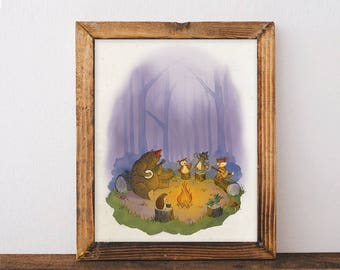 11 x 14 Woodland Campfire Nursery / Cool Kids Art / Camping Art / Outdoorsy Kids Decor
