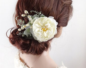 bridal hair flower, ivory peony hair clip, headpiece wedding, ivory flower hair clip, ivory hair comb, lily of the valley, wedding headpiece