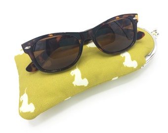 Glasses Case, Coin Purse, Dachshund Dogs, Fabric Glasses Case, Fabric Coin Purse, Mustard Coin Purse, Glasses Case, Soft Glasses Case