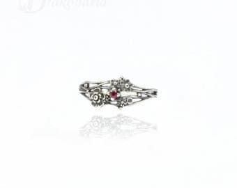Twig ring - ruby, sculpted flowers and twigs, limited collection