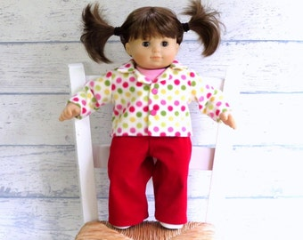 15 inch Doll Outfit, Polka Dot Jacket, Red Corduroy Pants, Pink Tee Shirt