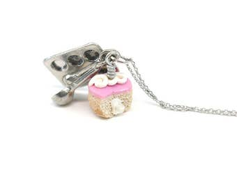 Pink Hostess Cupcake Necklace, Miniature Food Jewelry, Polymer Clay Food Jewelry