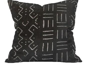 Vintage African Black Mudcloth Pillow | LARSON