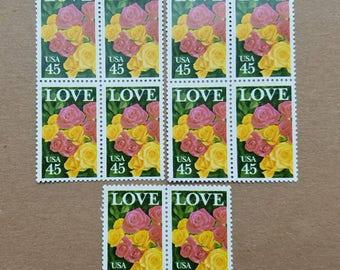 Vintage unused postage stamps - roses love, 45c, 10 stamps