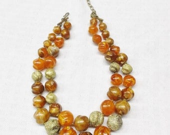 Vintage Mid Century Orange Art Glass Beaded Two Strand Necklace Choker