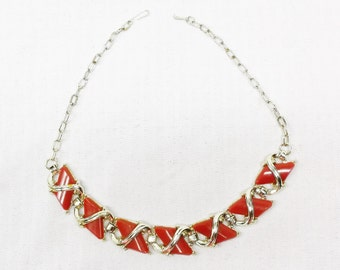 1950s Vintage Red Thermoset Plastic Gold Tone Necklace