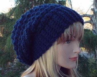 Navy blue crochet hat, womens slouchy beanie, oversized slouch beanie, chunky hat, slouchy hat, winter hat, slouch hat