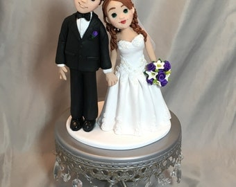 Custom Made Clay Bride & Groom  Wedding Cake Topper Sculpture add additional people, pets, sports, customize!