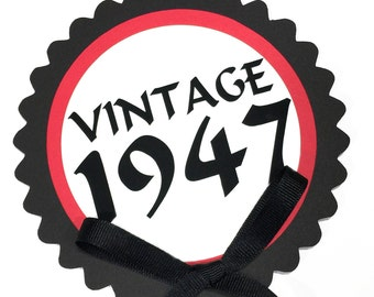 70th Birthday - Vintage 1948 Cake Topper Decoration, Candy Pick, Black, Red and White or Your Choice of Colors
