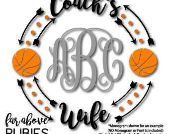 Coach's Wife Monogram Wreath (monogram NOT included) Basketball Arrows Dots - SVG, DXF, png, jpg digital cut file for Silhouette or Cricut