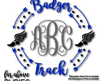 Badger Track Monogram Wreath (monogram NOT included) arrows track shoe - SVG, DXF, png, jpg digital cut file for Silhouette or Cricut