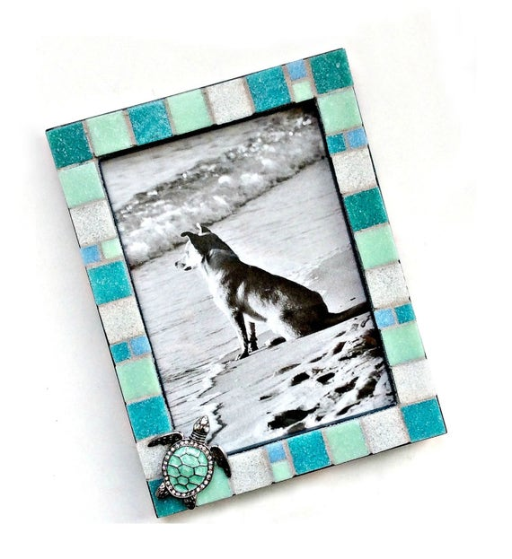 Aqua Blue Mosaic Frame with Sea Turtle, 5x7 Mosaic Frame, Blue Turtle Mosaic Frame, Mixed Media Aqua Turtle Frame, Beach Sea Turtle Frame