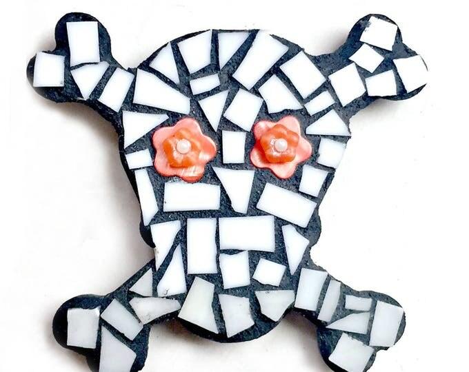 Mosaic Skull Magnet, Mosaic Magnet, Black White Orange Mosaic Sugar Skull, Handmade Mosaic Day of the Dead Magnet, Día de Muertos Magnet