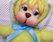Reserved Vintage Sweet Plush Rubber Face Dog Chubby Cheeks Yellow Rushton Type